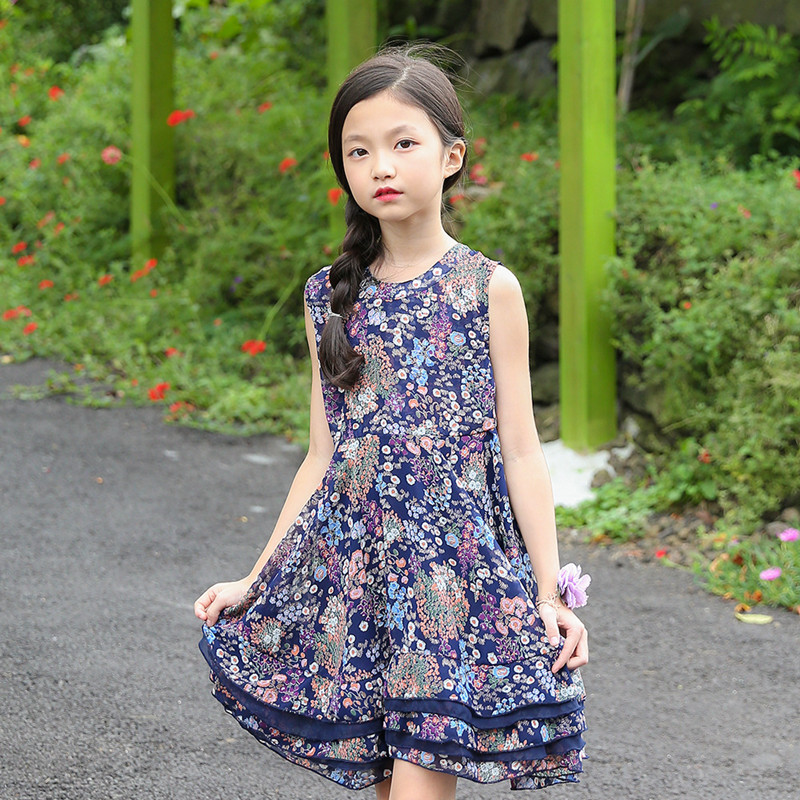 Newest Girls Summer Flower Dress Sleeveless kids O-Neck Dresses for Girl Princess Party Wedding Dress Children Cute Clothing E53