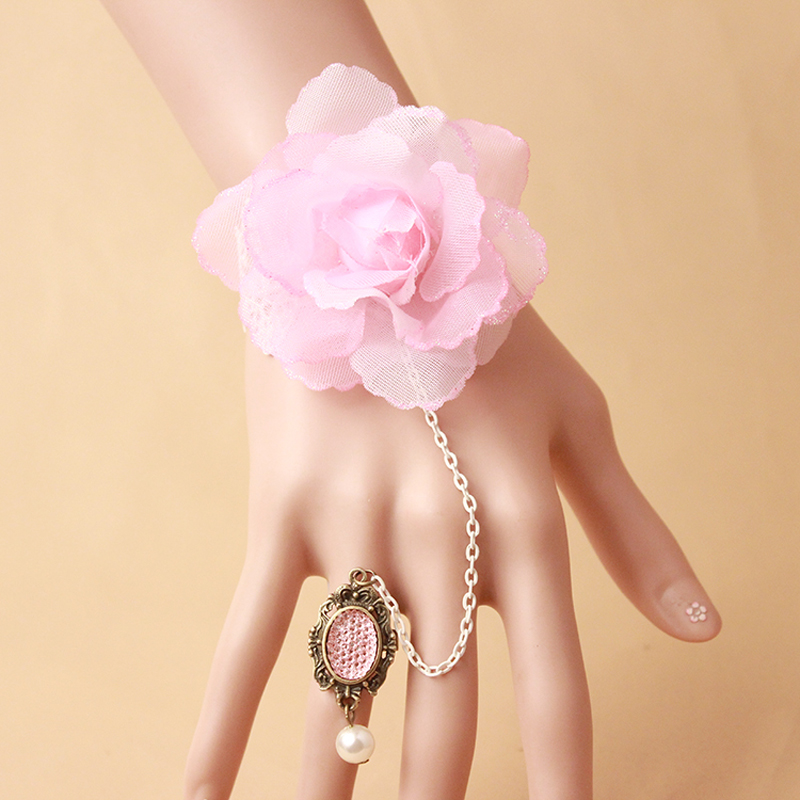 Big Pink Flower Wrist Bracelet With Adjustable Ring Attached Set Lace Jewelry Sets Women Accessories Costume Dressing Jewellery