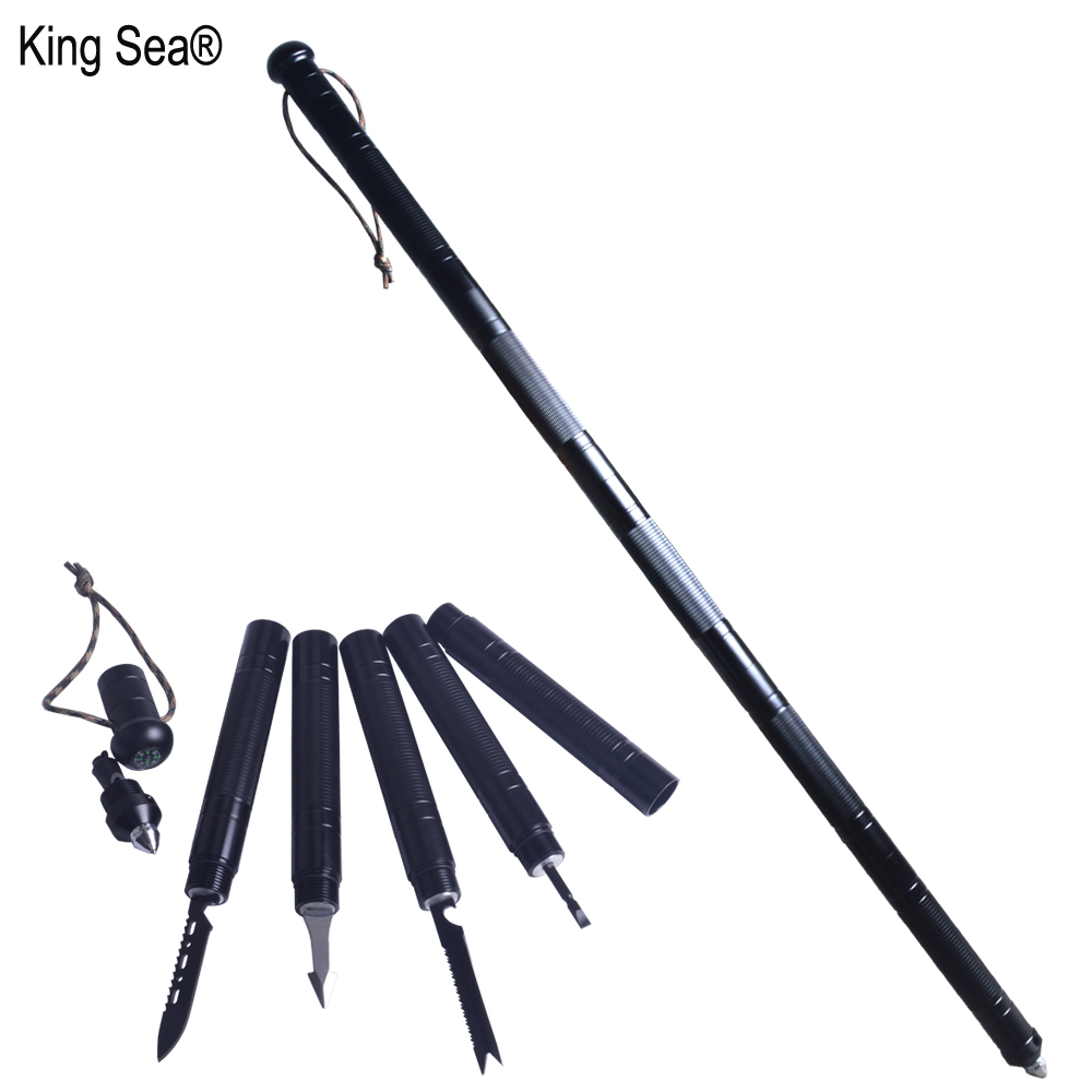 King Sea Multi function Outdoor defense Tactical stick Folding Alpenstock Hiking tool Camping Equipment Army stock
