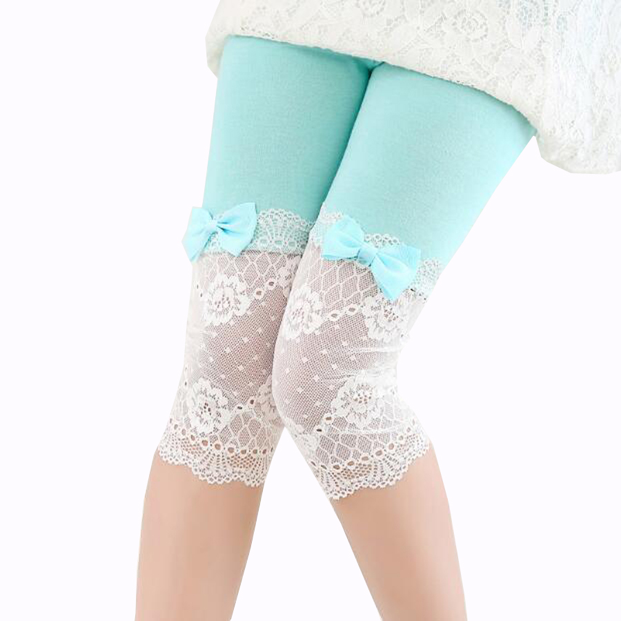 kids summer pants girls modal+lace calf-length leggings short pants bow decoration princess pants girls legging baby girls pants