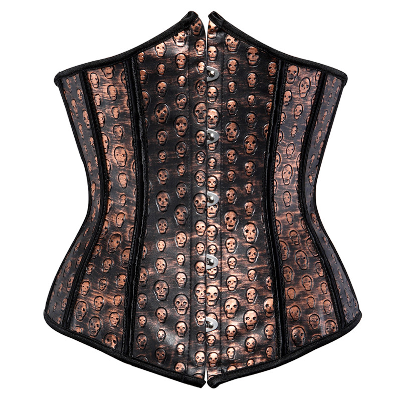 Faux Leather   Corset   Steampunk Underbust   Corset     Bustier   Sexy Brown   Corset   with Skull Print Lingerie Top Plus Size Pirate Costume