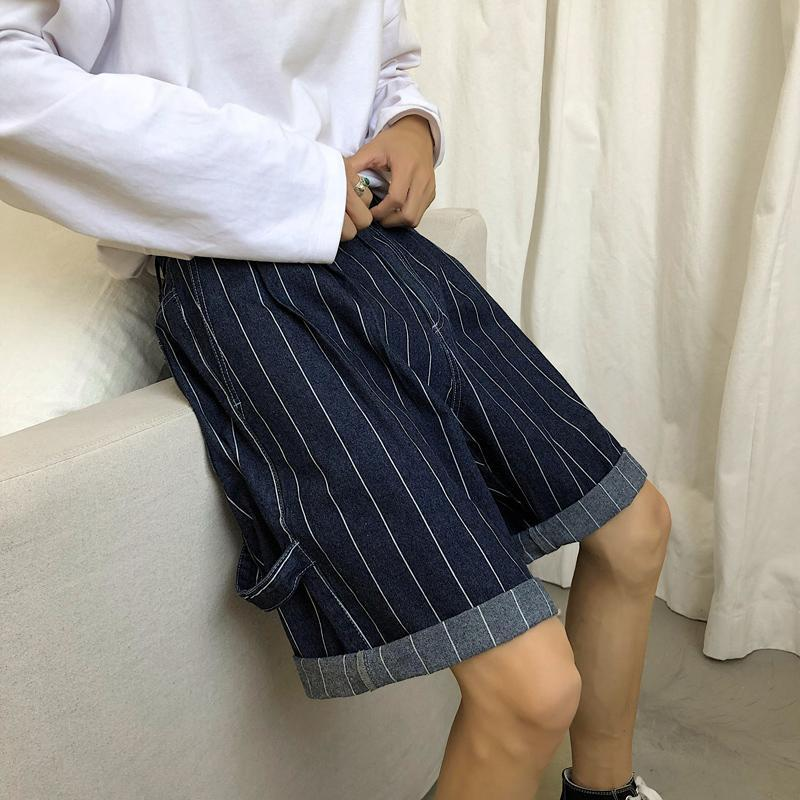 2019 Summer Men's Comfortable Wild Trend Explosion Models Japanese Loose Korean Striped Denim Casual Shorts
