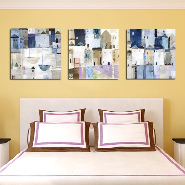 3 Panel Painting Set Abstract Town House Canvas Print Wall Art ...