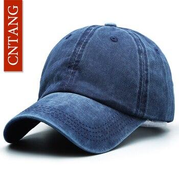 Gorra de béisbol informal clásica de moda CNTANG para hombres Primavera  Verano en blanco gorras de algodón sólido Snapback marca Unisex gorros c206b71c673