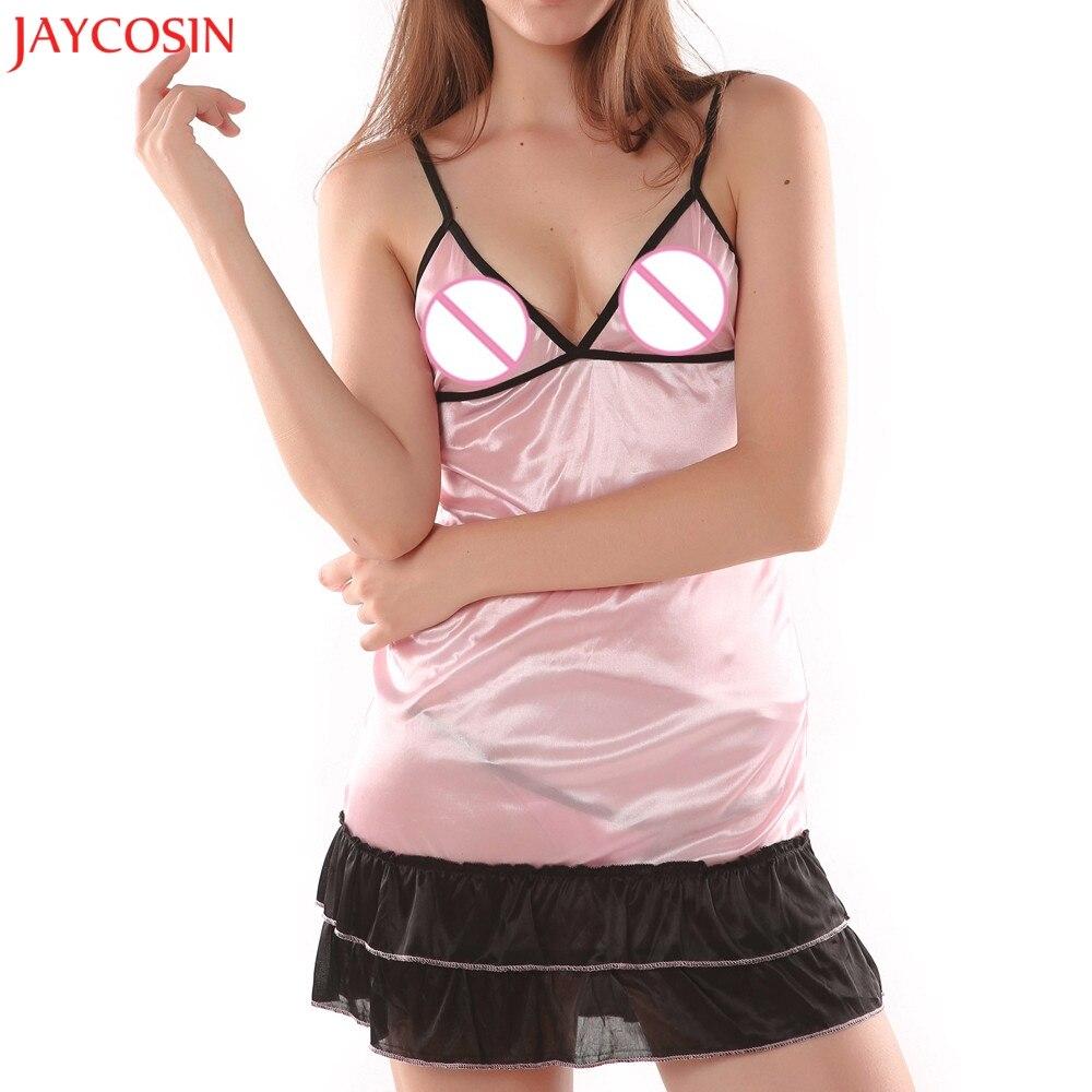 JAYCOSIN Fashion Plus Size Uniforms Night Dress Sleepwear Women V Neck Ruffles Sleeveless Sexy Nightgown Drop Ship Jan 29
