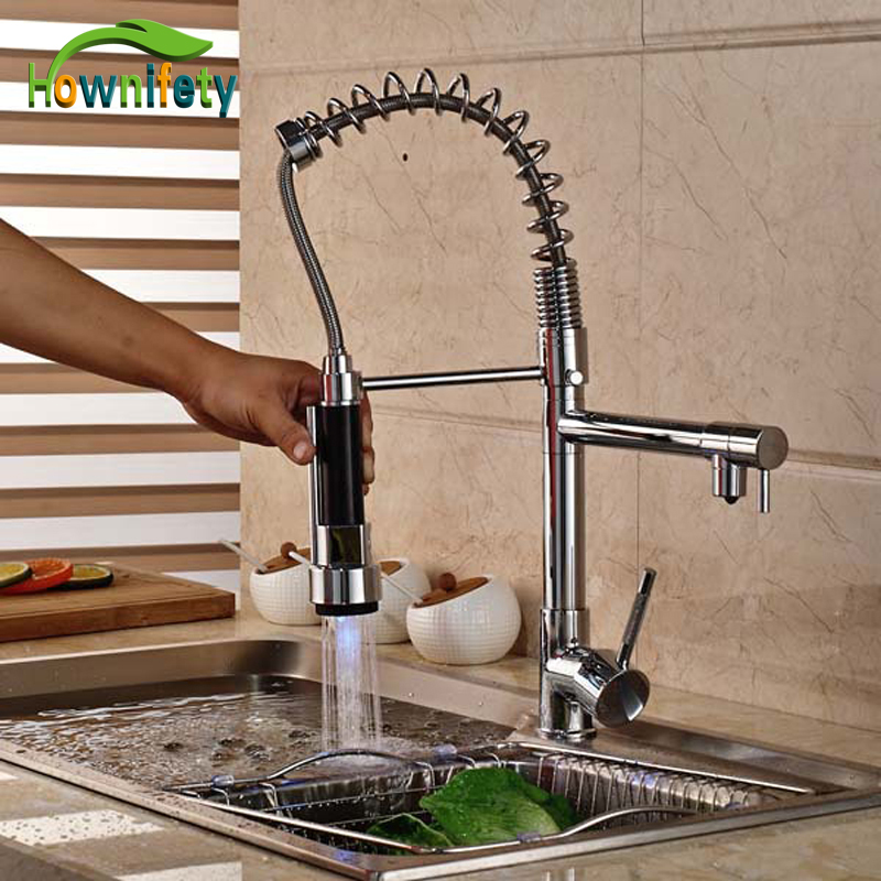 LED Chrome Brass Bathroom Basin Faucet Vanity Sink Mixer Tap Dual Function Sprayer Dual Handles Kitchen Faucet