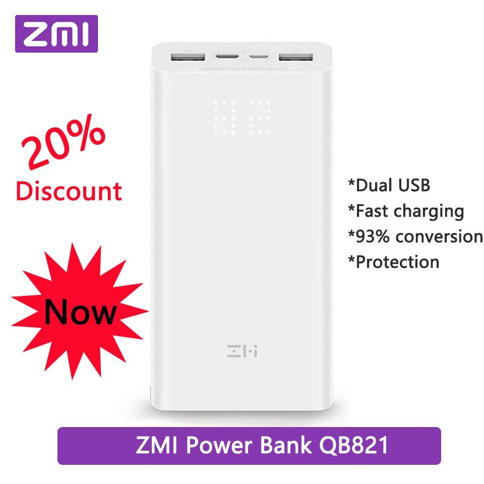 Batterie externe de xiaomi ZMI QB821 20000 mAh batterie externe Double USB portable de charge Puissance affichage numérique QC3.0 20000 mAh Powerbank