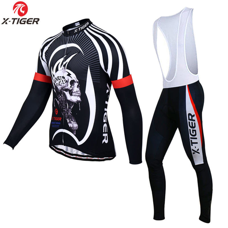 ФОТО X-Tiger 2017 Long Sleeve Cycling Jersey Set MTB Bicycle Clothing Maillot Ropa De Ciclismo Hombre Racing Bike Wear Clothes