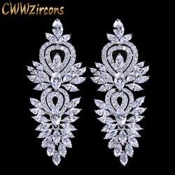 CWWZircons Vintage boda fiesta accesorios hermosa Zirconia cúbica grande largo lujo nupcial pendiente para las mujeres CZ309