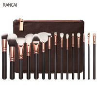 Professional 15pcs Brown Makeup Brushes Set Rose Golden Complete Eye Kit Powder Foundation Eyebrow Brush For