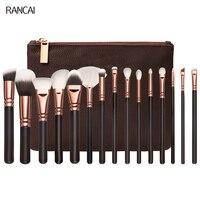 Professional 15pcs Brown Makeup Brushes Set Rose Golden Complete Eye Kit Powder Foundation Eyebrow Brush For