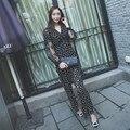 Высокое качество мода англия стиль цветочной вышивкой выдалбливают dot полная длина свободные черные комбинезоны женщины 2016 новый осенний
