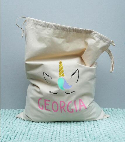 Personalised Name Kids Stylish Storage Canvas Toy Bags Santa Sacks Birthday Gift Natural Cotton Drawstring Bag