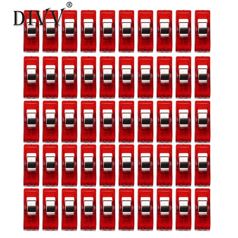 Storage Clip Housekeeping  Organizers 50 PCS Clear Sewing Craft Quilt Binding Plastic Clips Clamps Pack   craft