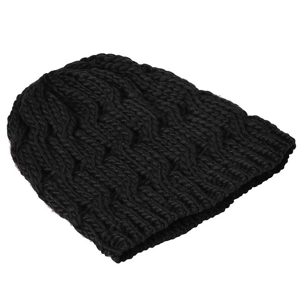 Fashion Womens Knit Crochet Ski Hat Winter Warm Braided Baggy Beret Beanie Cap black Coffee Red Pink Rose Red hot sale unisex winter plicate baggy beanie knit crochet ski hat cap