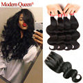 7A Brazilian Virgin Hair With Closure 4 Bundles with Closure Queen Hair Products with Closure Brazilian Body Wave with Closure
