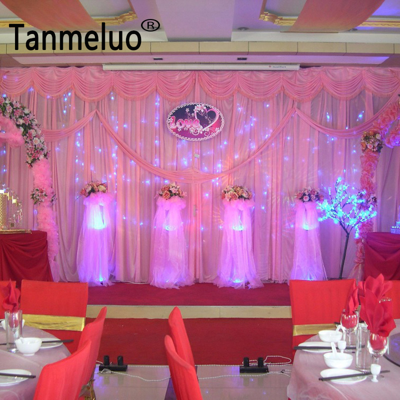 Celebrity Wedding Stage Decoration Photos: 10ft*20ft Pink Wedding Backdrop Wholesale Stage Decoration