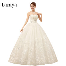 Lamya Off Shoulder Lace Bottom Wedding Dress Romantic Sweetheart Crystal Customized Size Vestido De Noiva(China)