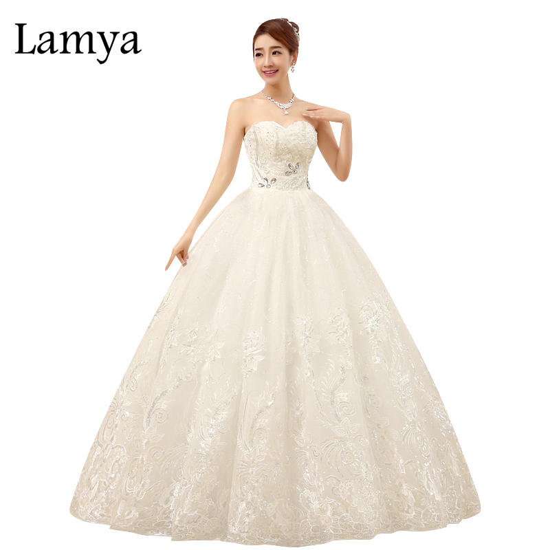 Lamya Off Shoulder Lace Bottom Wedding Dress Romantic Sweetheart Crystal Customized Size Vestido De Noiva