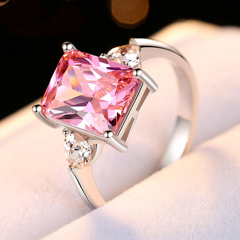8x10 Square Stone Artificial Gems Cubic Zirconia Ring Cherry blossom pink Color Real Sterling Silver Jewelry for Girlfriend