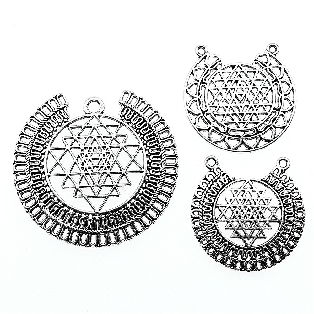 US $1 15 18% OFF|3pcs Charms For Jewelry Making Sri Yantra Antique Silver  Color Sri Yantra Charms Pendant Jewelry Sri Yantra Pattern Charms-in Charms