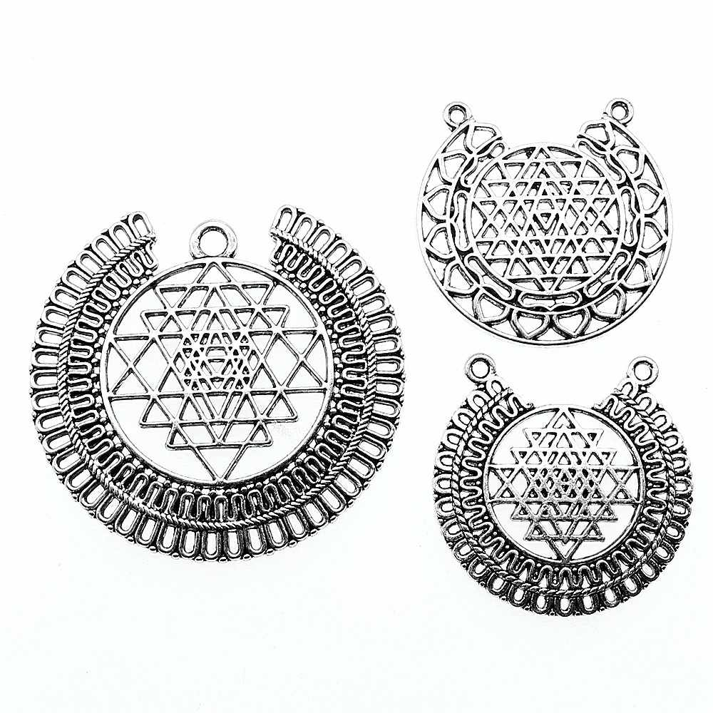 3pcs/lot Charms Sri Yantra Antique Silver Color Sri Yantra Charms Pendant  Jewelry Sri Yantra Pattern Charms For Jewelry Making