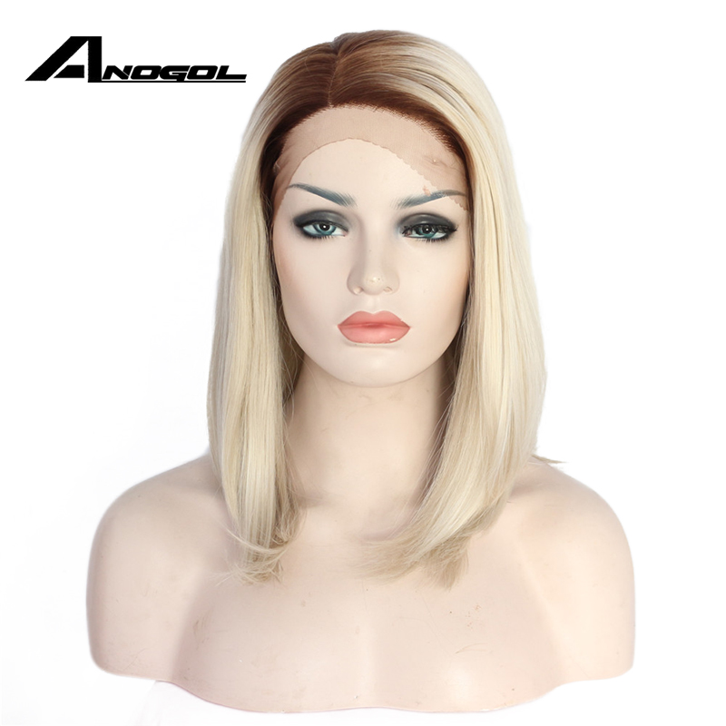 Anogol High Temperature Fiber Two Tones Straight Bob Short Brown Roots Ombre Platinum Blonde Synthetic Lace Front Wig For Women