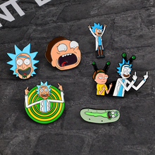 цена на Cartoon pin Genius scientist Rick and Morty BACK TO THE FUTURE series Cucumber With Badge Brooch For Adventure lover gift