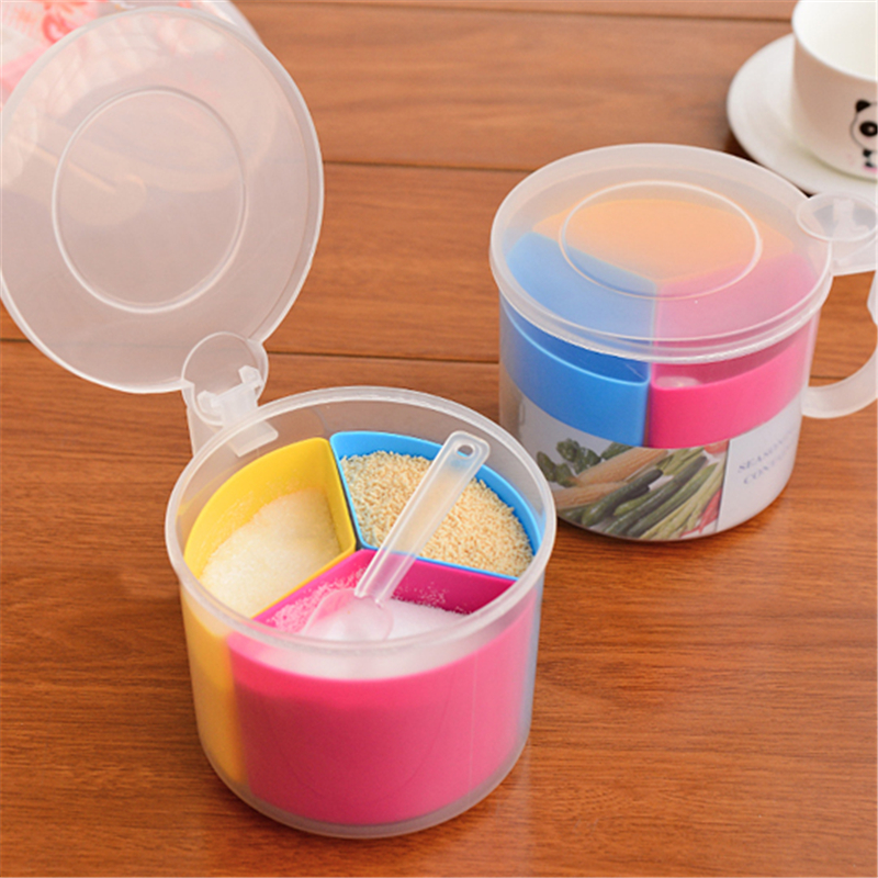 1PCS Three Grid Salt Spice Seasoning Storage Box Multifunction Round Plastic Cover Spoon Detachable Container Canister