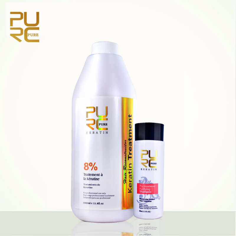 PURC Best Hair Care Set 8% Formlain 1000ml Keratin and 100ml Purifying Shampoo High Quality Hair Salon Products Free Shipping purc 8