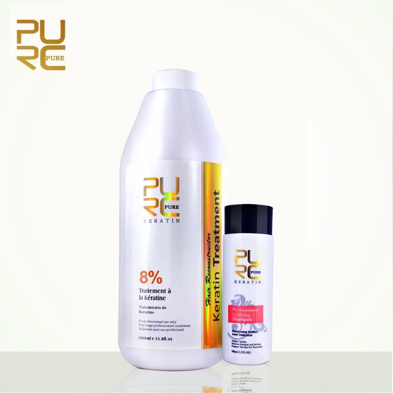 PURC Best Hair Care Set 8% Formlain 1000ml Keratin and 100ml Purifying Shampoo High Quality Hair Salon Products Free Shipping