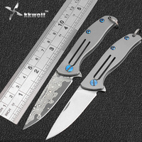 High Quality Damascus Pocket Knife Mini Titanium Handle Camping Tactical Survival Folding Knife EDC Self Defense