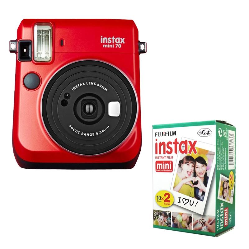 Fujifilm Instax Mini 70 Instant Film Camera Red with stylish shoulder strap + Fuji 20 film white edge Instant Photo Picture