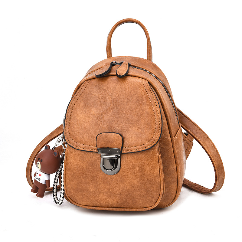 PU Leather Mini backpack Female Women Casual Waterproof Retro Smal Back pack for girl black grey khaki brown purple 2018