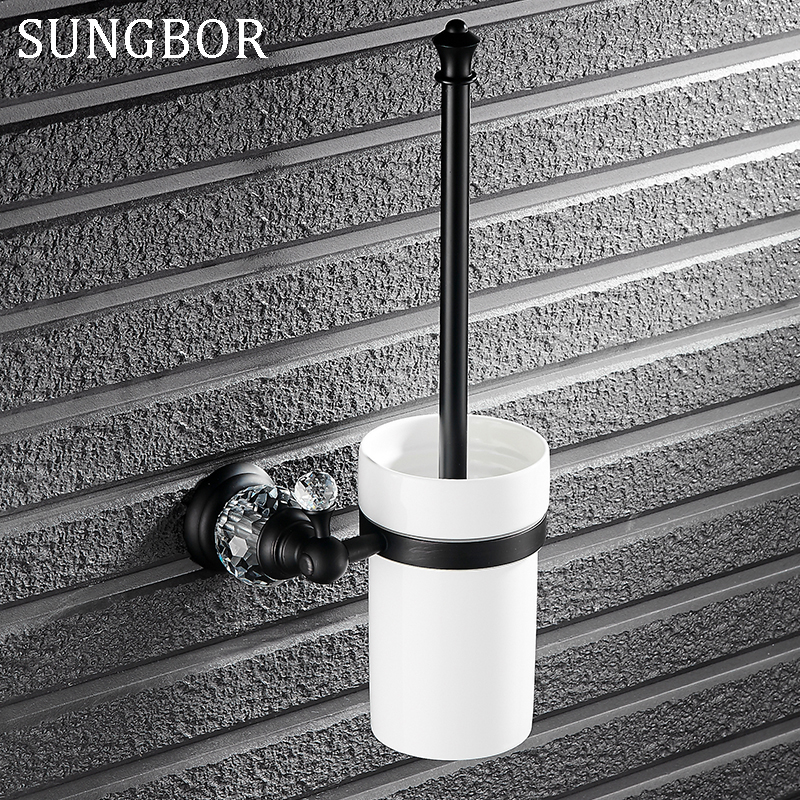 Luxury Black crystal toilet brush holder with Ceramic cup bathroom black bath brush kit decoration bathroom accessories SY-4909H simple bathroom ceramic wash four piece suit cosmetics supply brush cup set gift lo861050