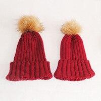 2Pcs Set Mother Kid Baby Child Hats Warm Winter Pompom Knit Beanie Cute Winter Mom Baby