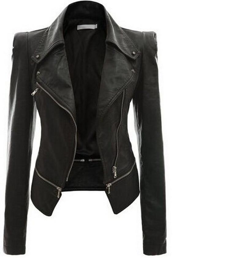 Jaqueta Couro Feminina Full Zippers Sell Through Ebay Detonation Model Qiu Dong Locomotive Two Wear 8096 Leather Jacket Zipper