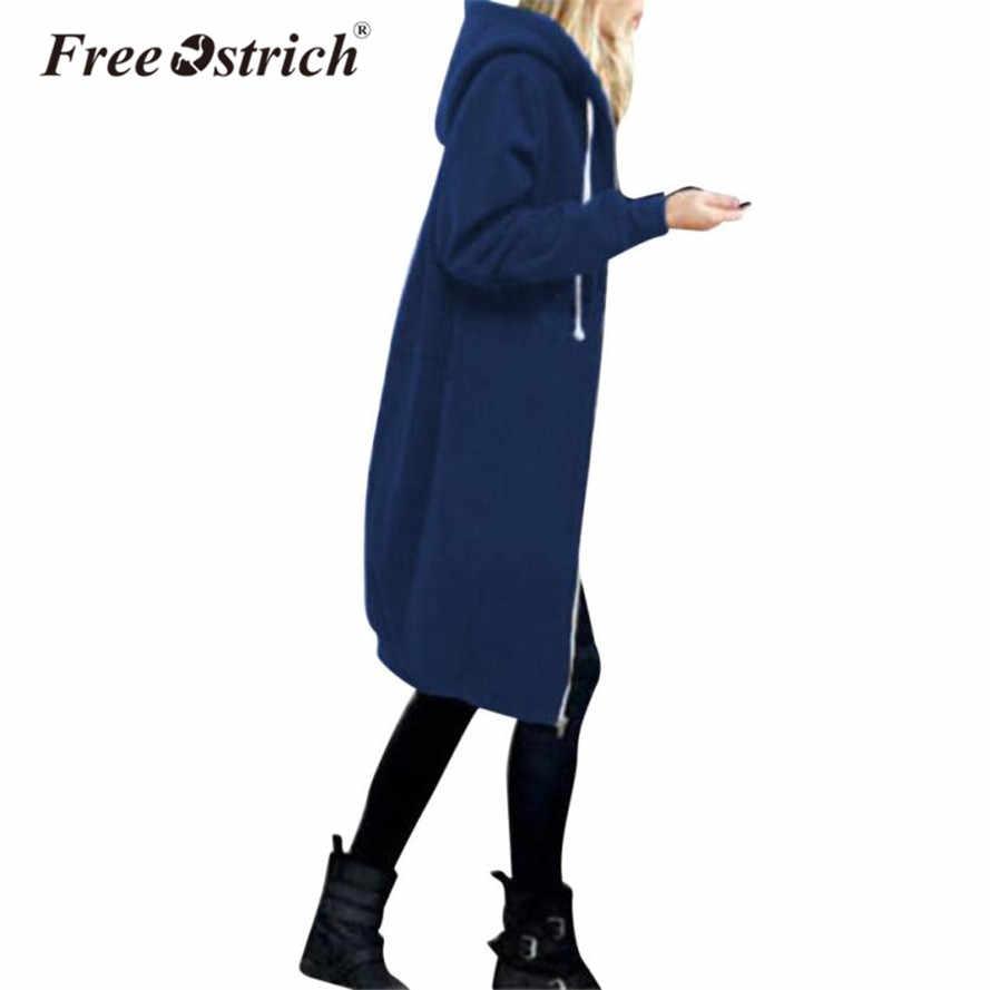 Freier Ostrich Sweatshirt Frauen Warme Mantel Zipper Lange Jacke Tops Hoodies Outwear Frauen Kleidung Dropshipping De18