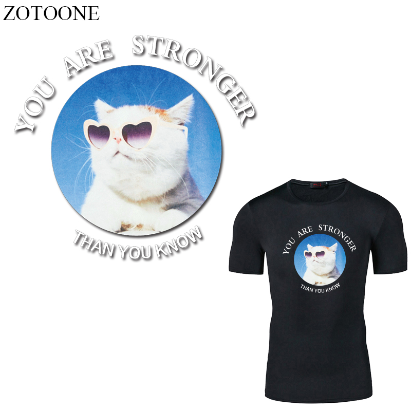 ZOTOONE Iron on Transfer Cat Patches for Clothing DIY T shirt Dresses Applique Heat Transfer Vinyl Letter Patch Stickers in Patches from Home Garden