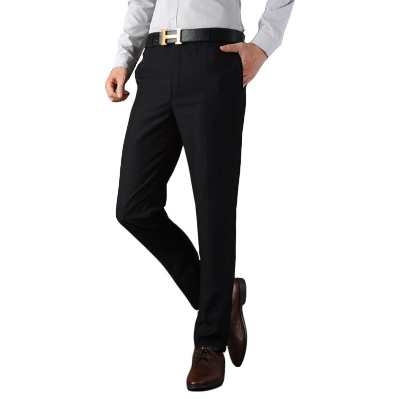 2019 Formal Wedding Men High-grade Suit Pants Fashion Slim Fit Casual Brand Business Blazer Straight Dress Trousers Black 27-37