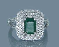 Классическое кольцо с натуральным изумрудом 14 k золото Твердые реальные бриллианты для больших Вечерние