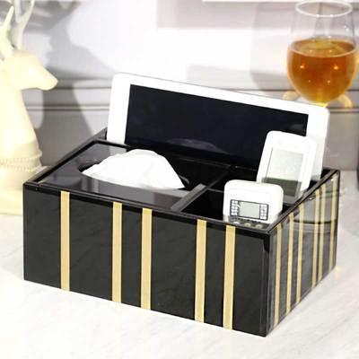 Креативная стеклянная Золотая полосатая коробка для салфеток скандинавском стиле журнальный столик для гостиной спальни макияж ящик для хранения пультов дистанционного управления пепельница - Цвет: E