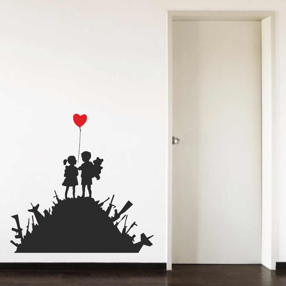 Banksy Us & Them Boy Girl Balloon Love Red Heart Baby Room Home Decal Removable Vinyl Art Wall Sticker Autocollant Mural B086