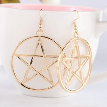 New Fashion Punk Rock Gold Silver Round Pentagram Star Earrings Big Drop Gothic Ear Hook Drop Earrings Jewelry