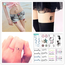 HC Mixed 8 Sheets Classic Tattoo Designs Black Tatoo Fake Body Temporary Tattoos HelloKitty Design For female.