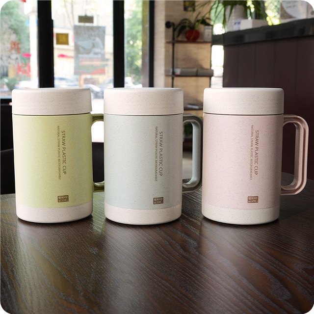 bpa free Hot Selling double wall ceramic liner milk tea cup  of NATURAL Green Wheat Straw PLASTIC BIODEGRADABLE coffee Mugs