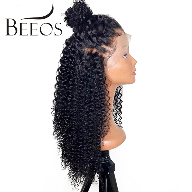 Beeos 150% Density 13*6 Deep Part Brazilian Kinky Curly Lace Front Human Hair Wigs With Baby Hair Pre Plucked Natural Remy Hair