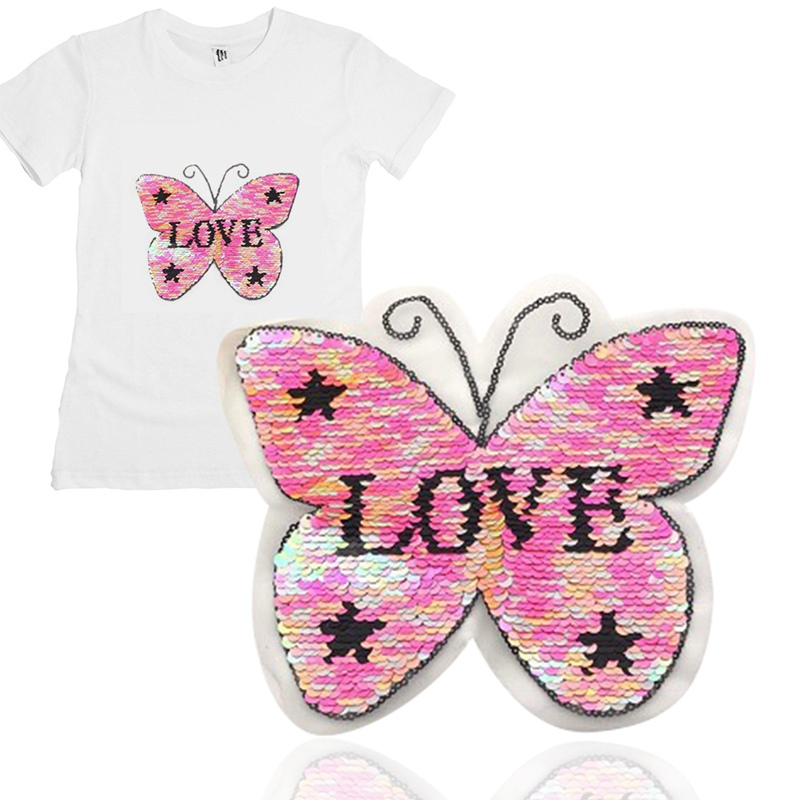 Butterfly Pentagram Reversible Change Color Sequins Sew On Patch For Clothe DIY!