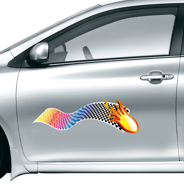 Color Flag and Flames Fashion Car font b Sticker b font Waterproof Reflective Decal Vinyl font