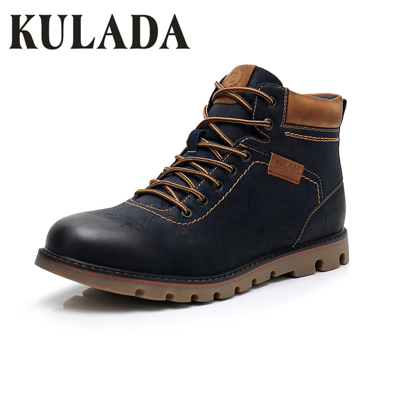 KULADA Top Quality Boots Men Snow Ankle Shoes Warmest Handmade Working Zipper Boots Men Lace Up Winter Shoes Hombre